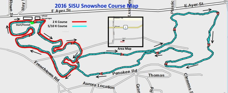 2016 SISU Snowshoe Race Map in the Miners Memorial Heritage Park