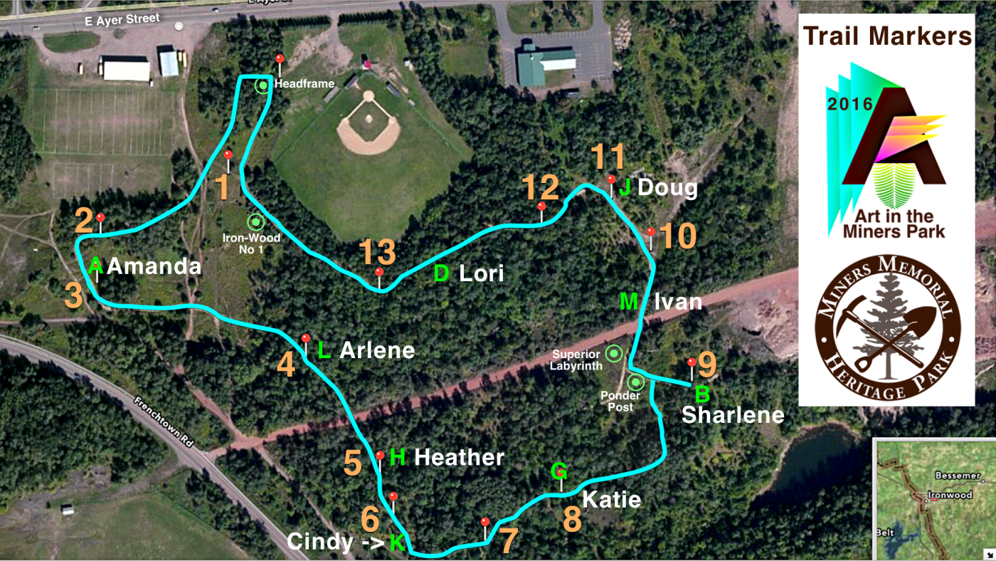 June 19 - Art in the Miners Park 2016 Site Selection Map
