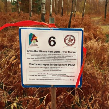 The numbers on the map are represented on the ground by trail maker signs. You can choose to loacte your art anywhere along the trail as long as you don't infringe on another artist's location. You can then tell us you art is, say, between marker 6 and 7.