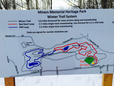 Our new snowshoe map at the Miners Park Trailhead. (map by Rick Semo & @Rapid Grafiks & Signs)