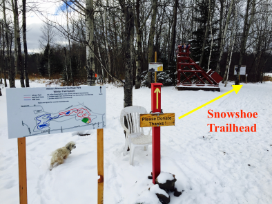 "Follow Mandy to the snowshoe trailhead just past the headframe & ""Hallowed Ground"" sign."